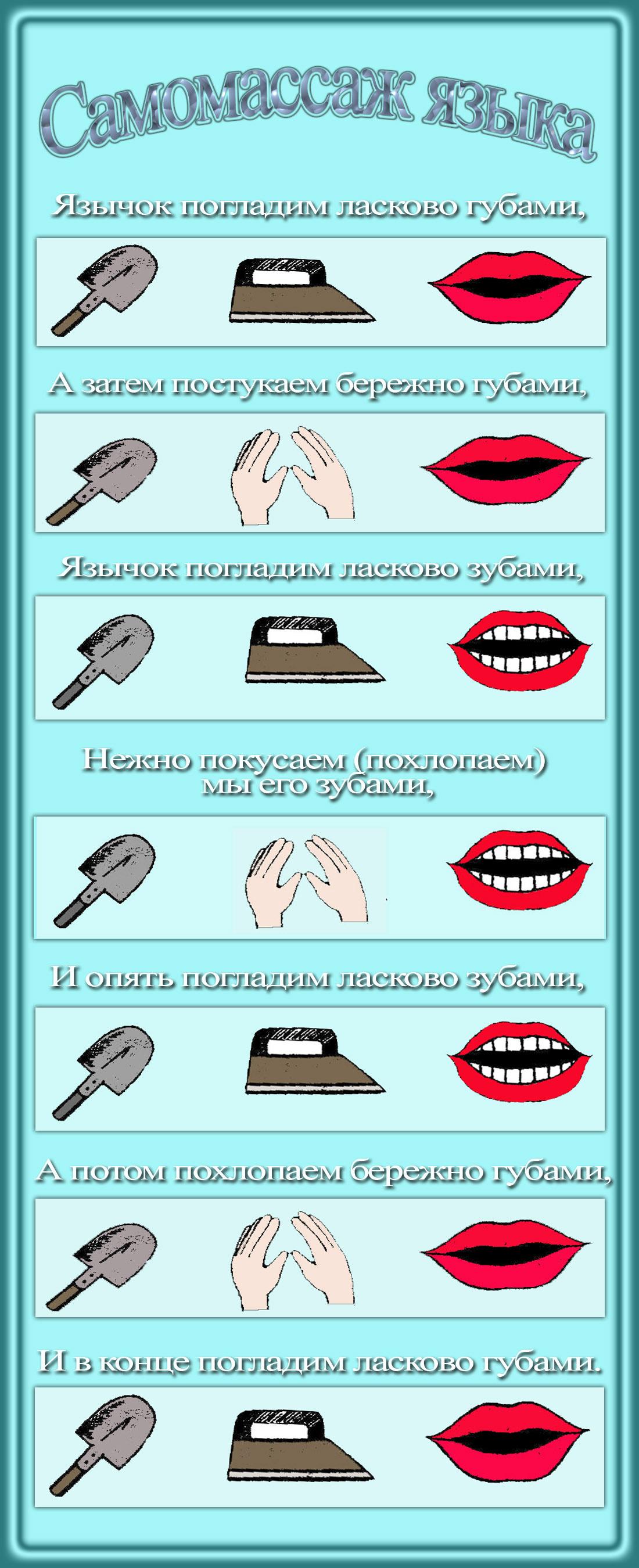 Схема массажа языка для детей в картинках